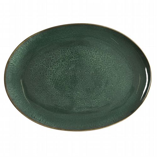 Stoneware Oval Platter - Green & Black